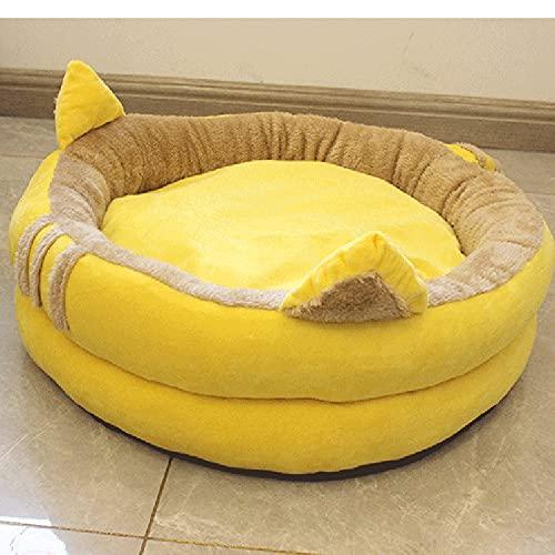 Baodaner Cama de felpa suave para gatos, lavable, tapete de cama de gato cálido, redondo, cojín para perros pequeños, cueva de anidación con cojín, orejas y cola lindas (45 x 45 cm, amarillo)
