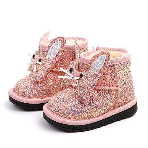 Dziewczyny zimowe buty śniegowe na zewnątrz buty na berbeć małe dzieci buty śniegowe Męska kurtka zimowa narciarska (Color : Pink, Size : 24)