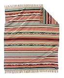 Pendleton Chimayo Wool Throw Size Blanket, Coral/Aqua Stripe