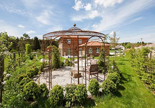 ELEO Florenz wunderschöner Gartenpavillon romantischer Rosenpavillon aus Schmiedeeisen, Edelrost I Ø 3,7 m I Pavillon für Garten (Pavillon Florenz mit Messingkugel und Sonnensegel, Unbeschichtet)