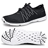 Alibress Quick Drying Outdoor Water Shoes for Men Breathable Sailing Boating Shoes Black White 12 M US