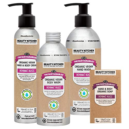 Beauty Kitchen The Sustainables Botanic Bliss Value Body Kit Gift Bundle - Organic Vegan Cosmetics - Vegan Body Wash, Body Cream, Hand Wash and Soap Bar - Refillable Eco-friendly Aluminium Bottles