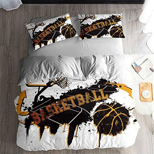 Conjunto de cama 3D Basketball Athlete Slam Dunk com capa de edredom estampada e 2 fronhas, conjunto de 3 peças/4 peças (+ lençol) macio, respirável, durável, cama de casal Queen King (10, King-4 peças - 229 x 259 cm)