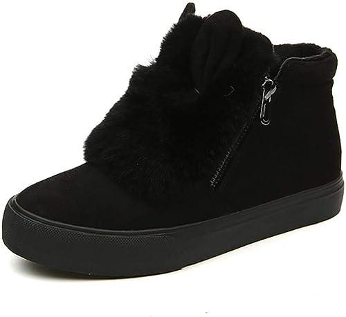 Fuxitoggo botas de Nieve para mujer botas para Exteriores botas Cortas de Invierno zapatos de Invierno Acolchados y cálidos (Color   negro, tamaño   35)