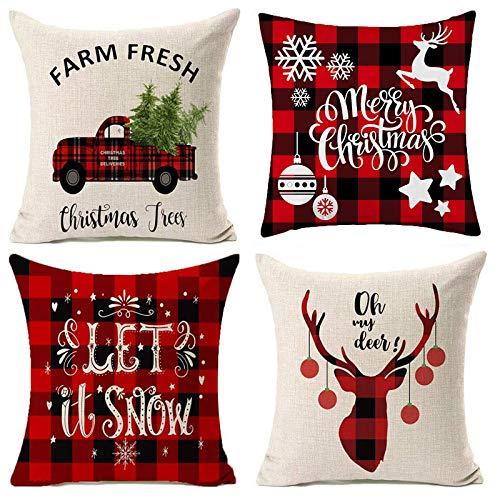 4 federe per cuscino natalizie, 40 x 40 cm, in cotone e lino di cotone, federa per cuscino per divano natalizio con cerniera quadrata (rosso e beige)