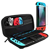 Viden Nintendo Switch Case,Travel Carrying Case for Nintendo Switch, with Tempered Glass Screen Protector,Holds 20 Game Cartridges, Joy-Con and Other Nintendo Switch Accessories- Black