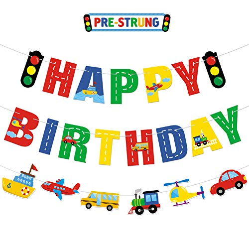Faisichocalato Transportation Happy Birthday Banner Car Bus Train Plane Ship Helicopter Traffic Light Photo Props Garland for Kids Transportation Theme Birthday Party Decorations Baby Shower Supplies