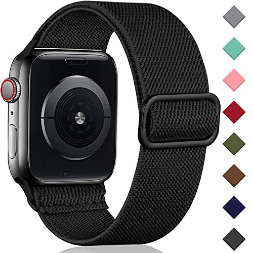 Oielai Solo Loop Armband Kompatibel mit Apple Watch Armband 44mm 42mm 40mm 38mm, Verstellbares Dehnbare Nylon Sport Ersatz Armband für iWatch SE Series 6/5/4/3/2/1, 38mm/40mm, Schwarz