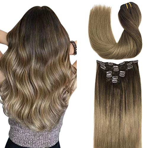 Doores 7pcs 120g 24 Inch Human Hair Extensions Clip in Chocolate Brown Highlighted Dirty Blonde Ombre Clip in Hair Extensions Real Natural Hair Extensions Straight Thick