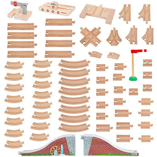 Orbrium Toys 68 Pcs Wooden Train Track Expansion Pack Compatible with Thomas Wooden Train, Brio, Thomas The Tank Engine