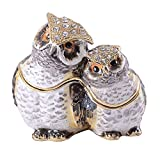 Minihouse Owl Trinket Box Hinged Hand-Painted Enameled, Owl Bird Figurine Collectible Jewelry Box Ring Holder, Unique Gift for Home Decor