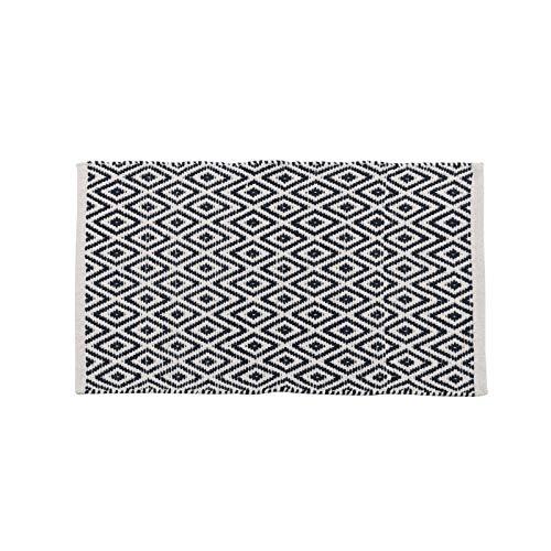 Tapis Motifs Ethnique Bleu Marine et Blanc en Coton 80 x 50 cm