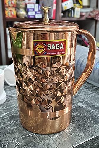 Spacetouch Jarra tradicional de cobre martillado de 1500 ml jarra de agua con tapa Ayurveda Health