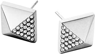 Michael Kors MKJ3942 Silver Tone Pave Embellished Pyramid Stud Earrings