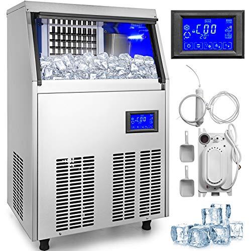 BuoQua 50kg Kommerzielle Eismaschine 220V Eiswürfelbereiter Kommerzielle Eiswürfelbereiter Edelstahl mit Ablaufpumpe und LCD Bildschirm