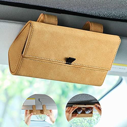 Frienda Cajas de Gafas de Coche Caja de Almacenaje de Anteojos de Automóvil Soporte de Visera de Coche Decoración Clip de Gafas de Sol para Mayoría de Vehículos (Caqui)