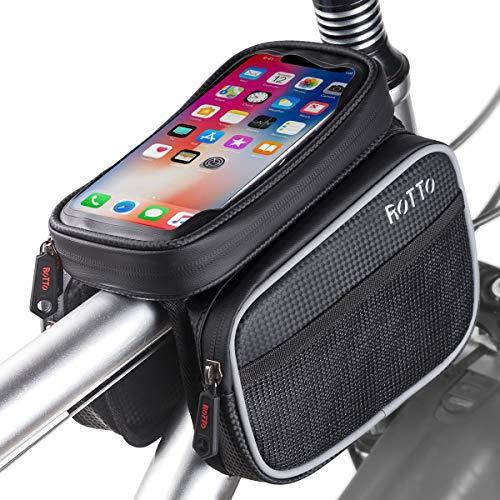 ROTTO Fahrrad Rahmentasche Oberrohrtasche Handytasche Handyhalterung Wasserdicht (Schwarz, L)