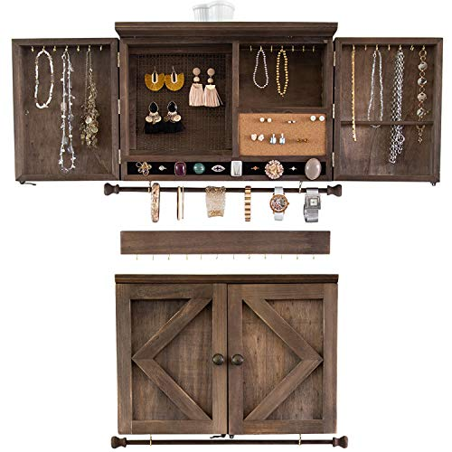 Rustic Jewelry Organizer – Wall Mounted Jewelry Holder with Removable Bracelet Rod, Shelf, Earrings Wire Mesh, 32 Hooks & Barn Doors – Perfect Earrings, Necklaces and Bracelets Holder - Torched Brown
