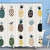 YCGRE Duschvorhang, Ananas, bunt, tropische Früchte, Aloha-Dschungel, Sommerpflanze, wasserdichter Stoff, Badezimmer-Dekor-Set mit 12 Haken, 182,9 x 182,9 cm (Gelb)