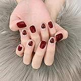 TJJF Uñas postizas 24 Unids/set Sweet Summer Short Nails Square Tips con Glue Girls Cute Red Color Strawberry Printing Fake Nail para mujeres Diy Press