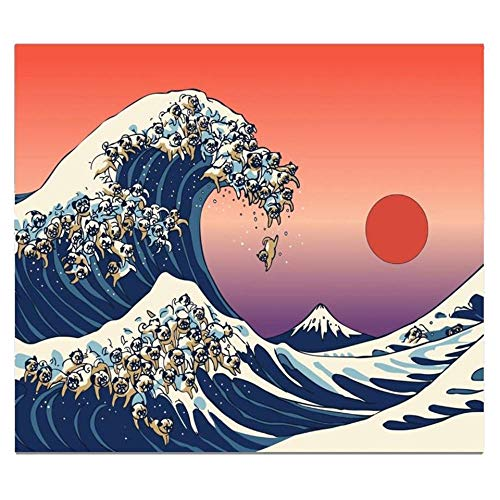 m u Sunset Popage Japanese Tapestry Wall Mount Fuji Natural Landscape Hippie Dog Wall Blanket Mandala Carpet Cloth Beach Tapestry Non-Woven Fabric 200 * 150Cm Tapestry MU