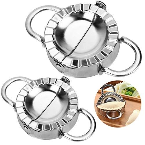 SOWELL Dumpling Maker,2PCS Edelstahl Knödel-Hersteller,Edelstahl Knödel Teigform Machen Obstkuchenpresse Gebäck Küchengeräte zum Kochen