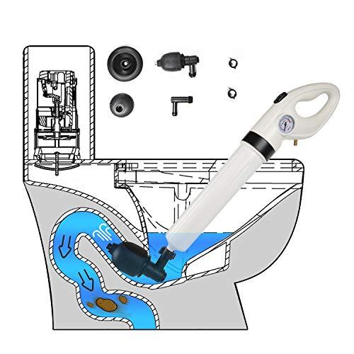 Air Pressure Drain Unblocker, Toilet Plunger, Powerful Manual Pneumatic Dredge Equipment, One Touch Toilet and Drain Unblocker, for Toilet, Bathroom Drain, Kitchen Sink (White)