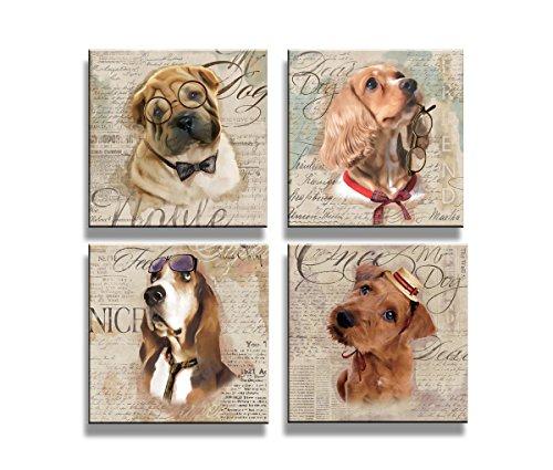 Visario Cuadros en Lienzo 4x20 x 20 cm Nr. 6905 los Perros Enmarcado y Listo para Colgar, Calidad de la Marca