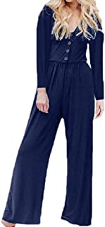 Howely Women Tunic Cotton Long-Sleeve Solid Single Breasted Jumpsuits