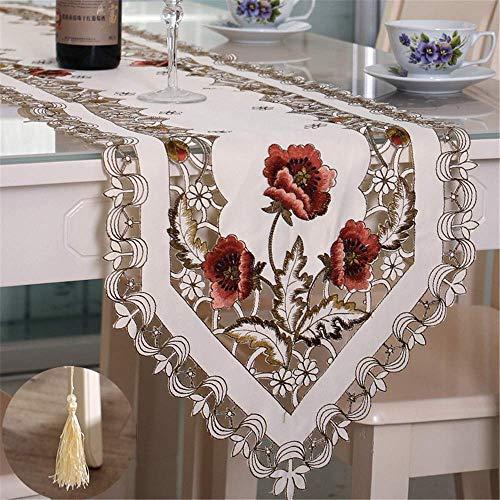 Nvfshreu tafelloper modern minimalistisch polyester geborduurde tafelvlag koffietafelvlaggen decoratiehuisdoek roze 40 eenvoudige stijl * 176