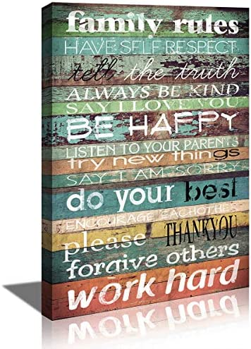 KuyiArt Family Decorative Sign Family Rules Wall Art Inspiration Motto Picture Poster Canvas product image