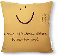 Koruna Smile is The Shortest Distance Decorative Throw Pillow Covers ONLY for Couch, Sofa, or Bed Set Modern Design 100% Canvas Bedding Gift Wrinkle, Fade