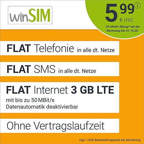 Handyvertrag winSIM LTE All 3 GB - ohne Vertragslaufzeit (FLAT Internet 3 GB LTE mit max 50 MBit/s mit deaktivierbarer Datenautomatik, FLAT Telefonie, FLAT SMS und EU-Ausland, 5,99 Euro/Monat)