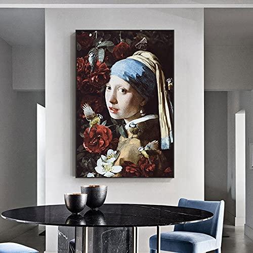 Vermeer arte abstracto chica con pendientes de perlas pinturas en lienzo cuadros artísticos de pared para decoración de sala de estar 60x80 CM (sin marco)