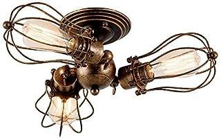 Gladfresit Industrial Ceiling Light Adjustable Socket Rustic Lamp, Metal Cage Semi-Flush Mount Vintage Ceiling Light Indoor Home Retro Chandeliers Lighting Fixture (3-Light Lamp Base)