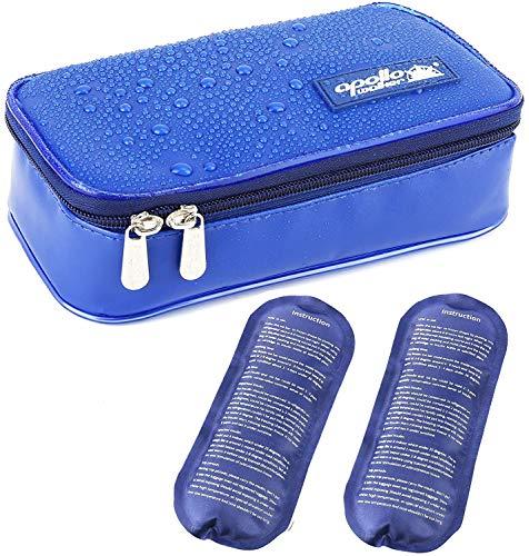 ONEGenug Wasserdicht Insulin Kühltasche Diabetiker Tasche Medikamenten Thermotasche + 2 Kühlakkus (Size M)