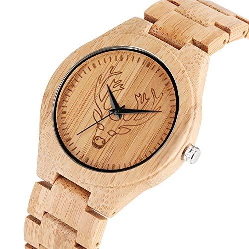YJRIC Reloj de Madera Reloj de Cuarzo de Moda Caliente, Reloj de Hombre con Pantalla de Cabeza de Alce, Relojes de Hombre de Madera Hechos a Mano, Reloj de Brazalete de bambú