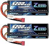 Zeee 2S Lipo Battery 5200mAh 7.4V 100C Estuche rígido con Deans T Plug para vehículos RC 1/8 y 1/10 Coche RC Buggy Truggy RC Avión UAV Drone FPV (2 Unidades)