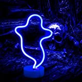 Ghost Neon Signs Night Lights, LED Signs Ghost Shape Lamp Neon Lights for Christmas, Wall, Party Child Kids Teen Bedroom Decor-Ghost with Holder Base(Blue)