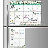 Magnetic Calendar for Refrigerator - Fridge Calendar, Magnetic Dry Erase Calendar with Grocery List Magnet Pad, Monthly Calendar Whiteboard, 15'x 11.5', Desk & Wall & Fridge Calendar/Planner