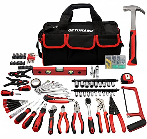 188-Piece Household Tool Kit - GETUHAND General Home/Auto Repair Hand Tool Set, Multi tool Set with Large Mouth Opening Tool Bag with 15 Pockets
