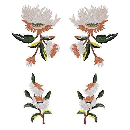 EMDOMO Exquisite Bloem Borduurwerk Applique Stof Patches voor Jurk Kleding Versierd Mode Merk Badge Naaibenodigdheden 1set/4 stuks