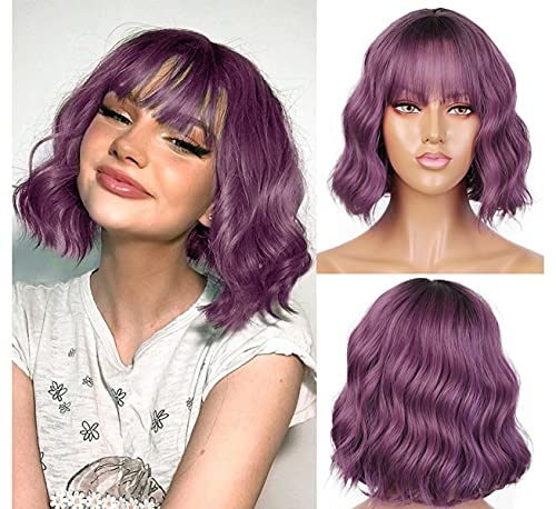 LANOVA Black Ombre Purple Wigs for Women Purple Curly Wigs with Bangs Synthetic Hair Afro Wigs Violet Wigs Banged Wig LANOVA-134