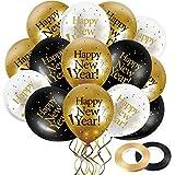 45 Globos de Látex de Happy New Year de 12 Pulgadas, Globo de Látex Fiesta de Año Nuevo Negro Oro Blanco con 2 Adornos de Cinta Negra y Oro para Suministros d Fiesta de Nochevieja de 2021