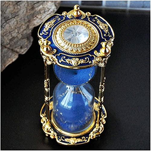 Antique Floral Decorative Hourglass Sand Timer - 15 Minute, Unique Vintage Classic Metal Art Hour Glass for Office Desk Home Decor - Birthday Gift,Blue