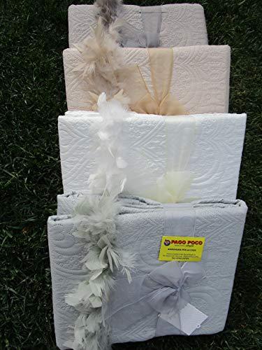 PAGO POCO Novita !!!! Tagesdecke für Doppelbett, einfarbig, 260 x 260 cm. Perfekt für Frühling und Sommer!!!! Farben: weiß-grau-beige - taupe 160 x 190 cm Bianco