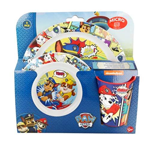 3 Teile Geschirr Lunch Set Geschirrset : Teller + Schale + Trinkbecher Kunststoff BPA frei Mikrowellen geeignet Wieder verwendbar (Paw Patrol)