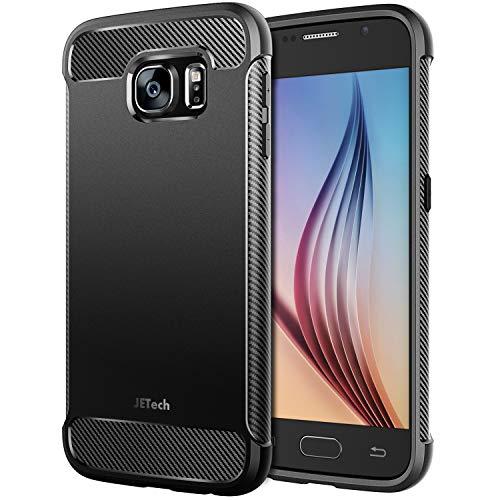 JETech Coque pour Samsung Galaxy S6, Shock-Absorption et Anti-Rayures, Textures de Fibre de Carbon, Noir