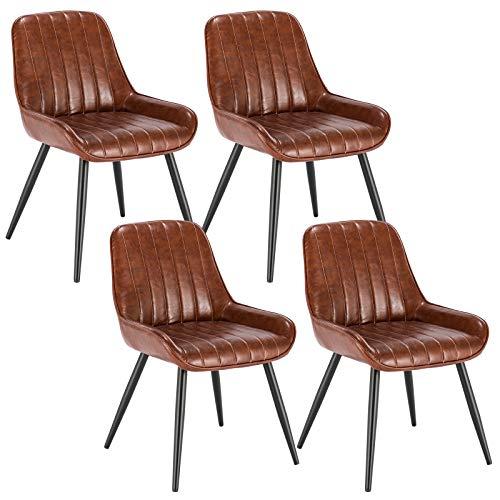 Lestarain 4X Sillas de Comedor Dining Chairs Sillas Tapizadas Paquete de 4 Sillas Cocina Nórdicas Cuero Sintético Sillas Bar Metal Silla de Oficina Marrón