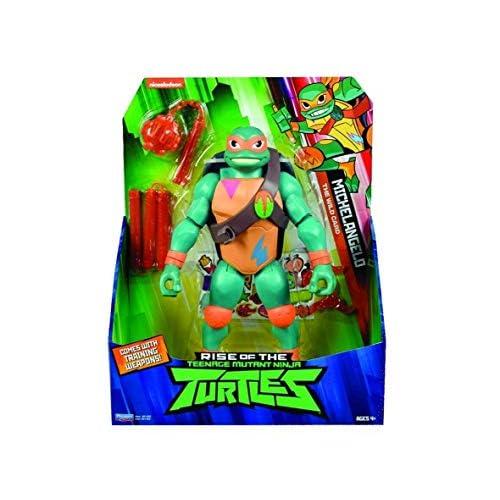 Giochi Preziosi Teenage Mutant Ninja, Turtles Rise Off, Personaggi Giganti 30 cm con Suoni, Michelangelo Popup Attack